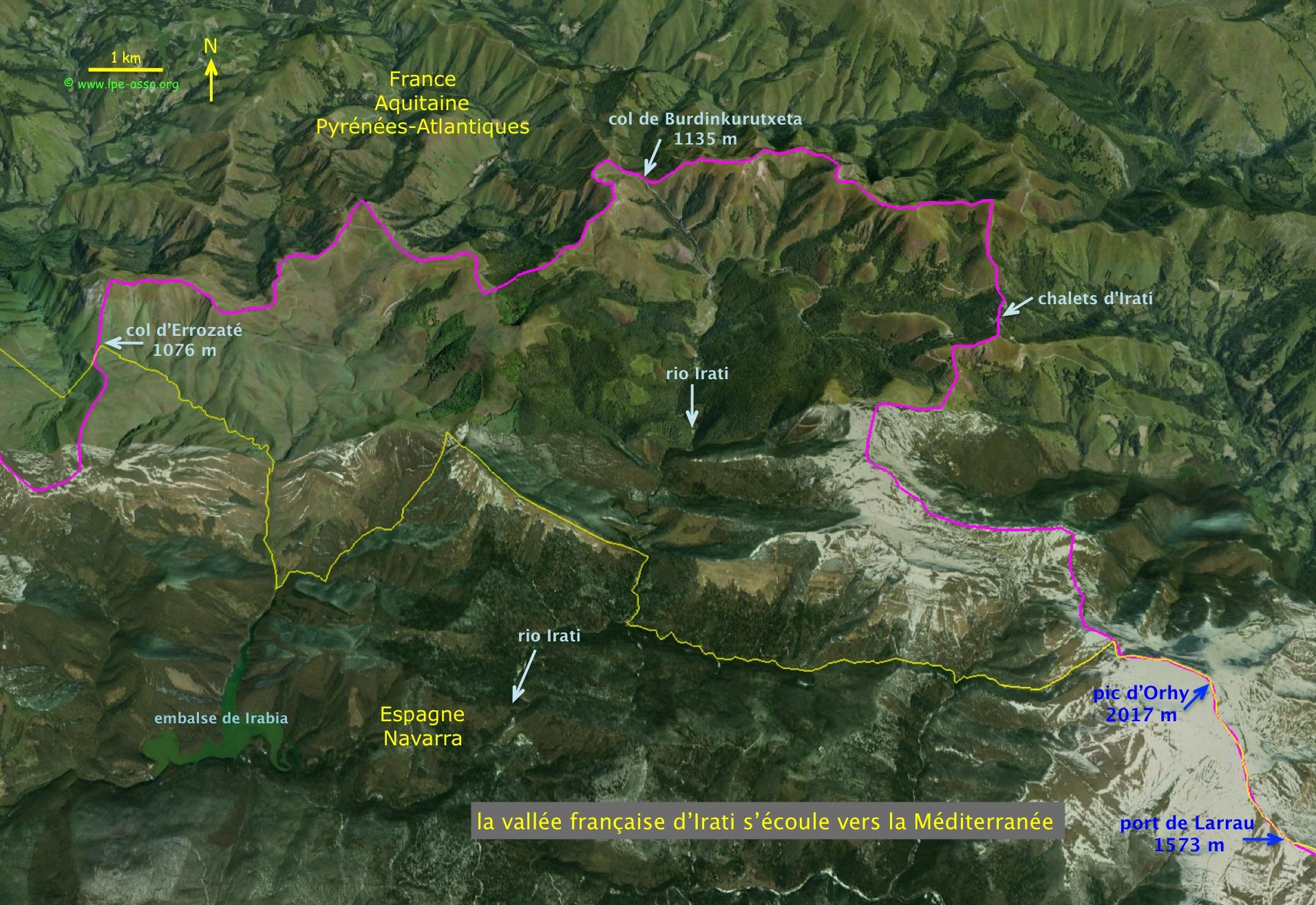 La vallée d'Irati, seule partie des Pyrénées-Atlantiques qui s'écoule vers la Méditerranée.