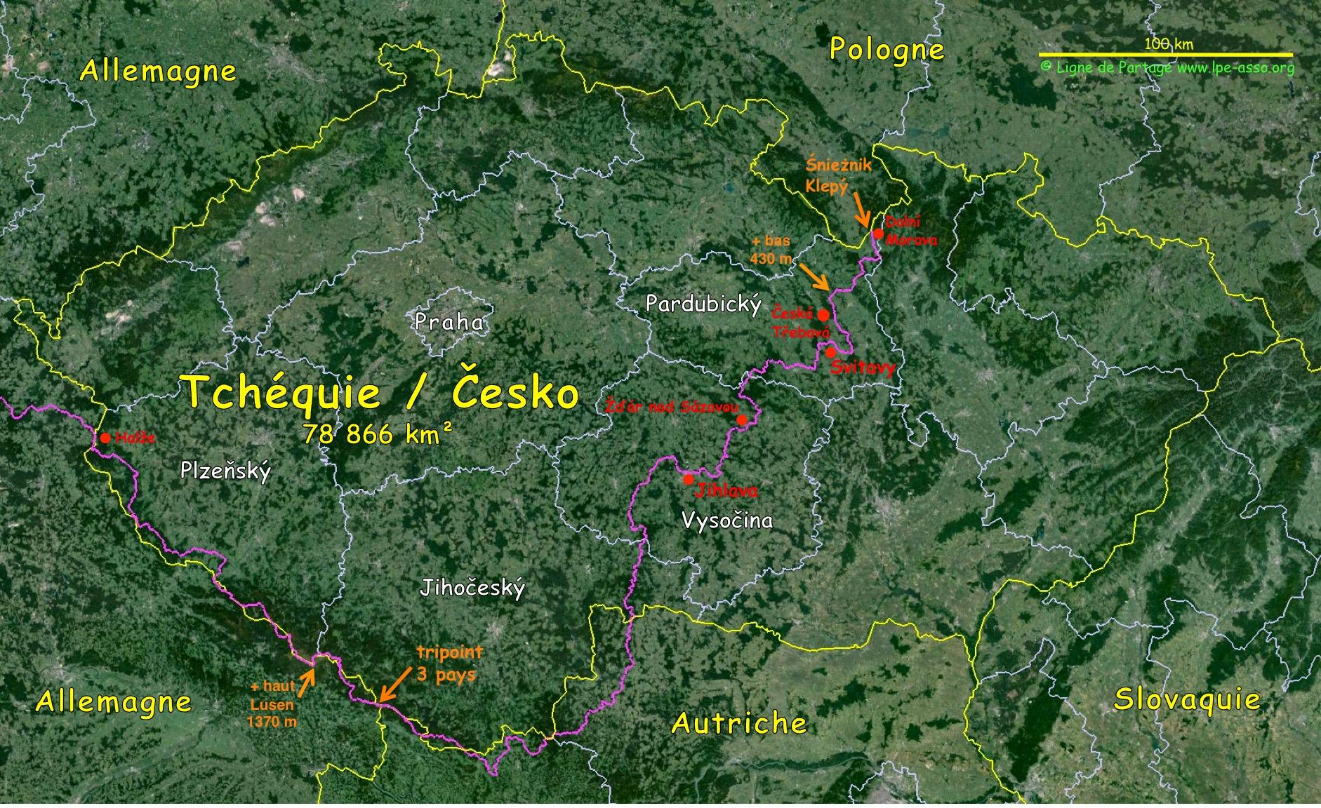 Carte ligne A/M tchéquie