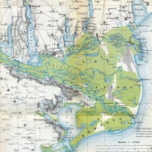 Immense delta du Danube sur une carte de 1867... (source wikipedia)