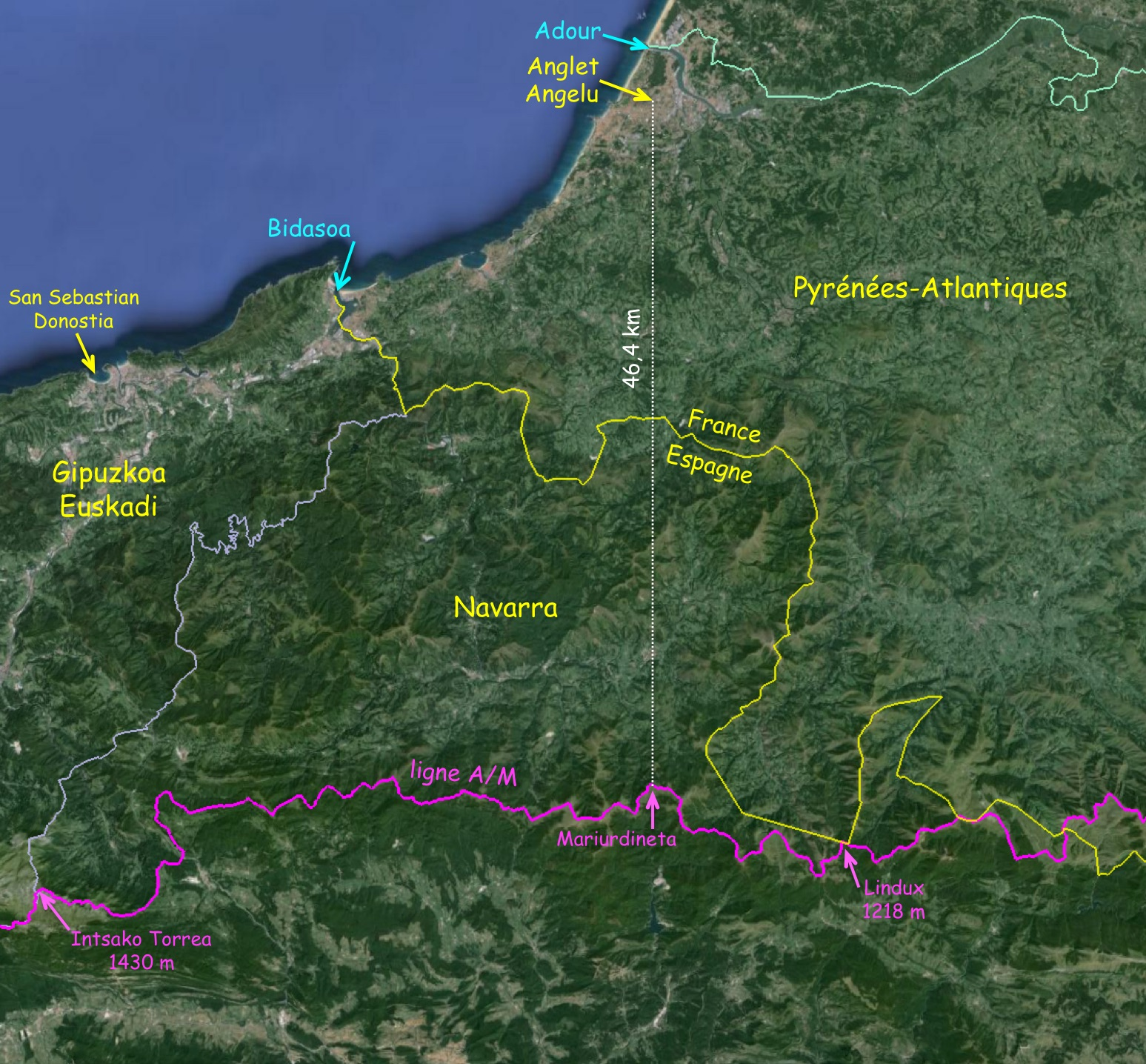 Anglet, siège social de l'association Ligne de Partage se trouve à 46,4 km de la ligne A/M à vol d'oiseau...