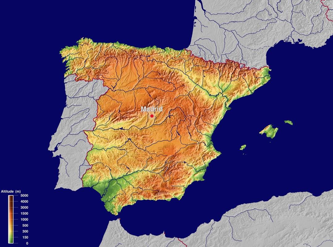 Carte Espagne Nord Est.Espagne Ligne De Partage